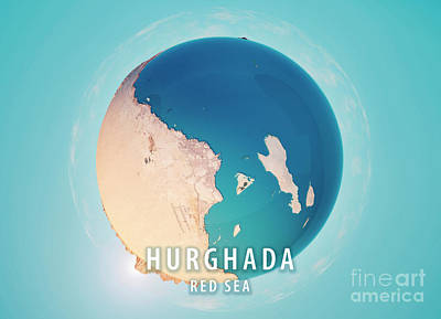 Hurghada 3d Little Planet 360-degree Sphere Panorama Art Print by Frank Ramspott