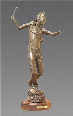 Sculpture - Huron Warrior by Hal Stewart