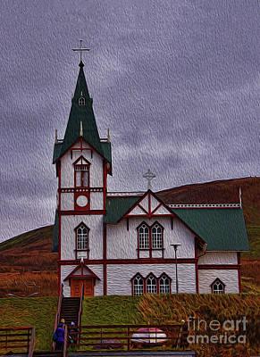 Photograph - Husavik Church Iceland by Chris Thaxter