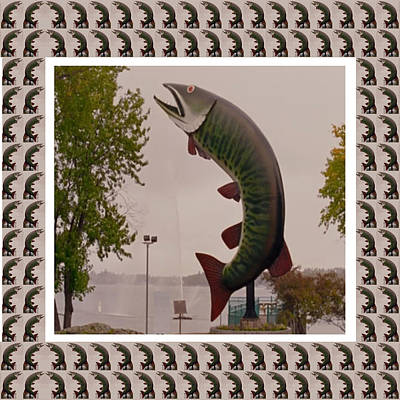 Mixed Media - Husky The Muskie Kenora Ontario  Roadside Attractions Photography Artistic Graphic Digital Touch  by Navin Joshi