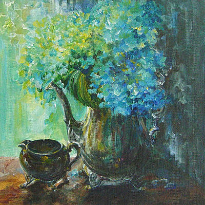 Silver Tea Pot Painting - Hydrangea 2 by Gloria Turner