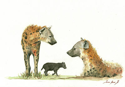 African Animal Painting - Hyena Family by Juan Bosco