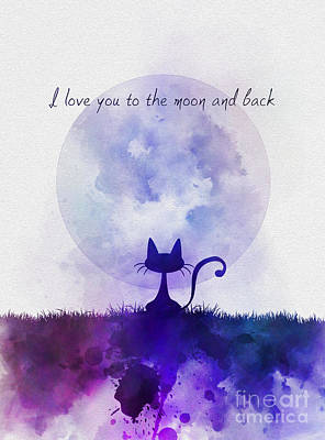 Moon Mixed Media - I Love You To The Moon And Back by Rebecca Jenkins