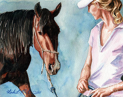 Mustang A Day Challenge Painting - I Will Follow You by Linda L Martin