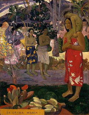 Post-impressionist Wall Art - Painting - Ia Orana Maria Hail Mary by Paul Gauguin