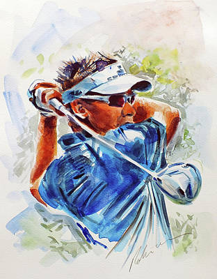 Painting - Ian Poulter by Mark Robinson