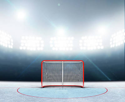 Turf Digital Art - Ice Hockey Goals In Stadium by Allan Swart