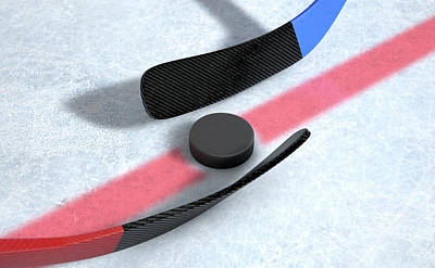 Turf Digital Art - Ice Hockey Sticks And Puck by Allan Swart