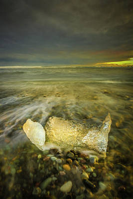 Ice In Surf At Dusk. Art Print by Andy Astbury