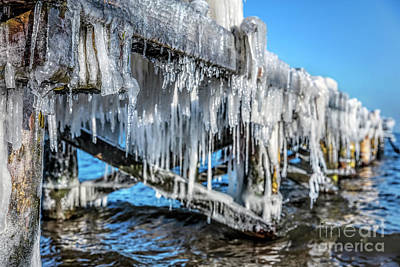 Photograph - Icicle Hanging Under Jetty Roof. Ice, Winter. by Michal Bednarek