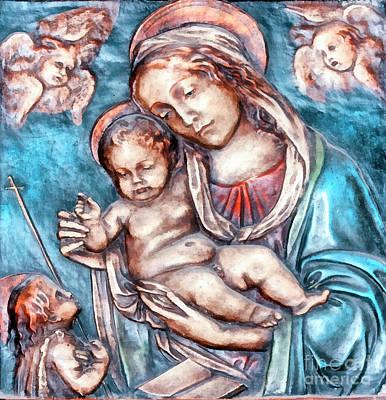 Greek Icon Digital Art - Icon Of Madonna Mother Of God by Odon Czintos