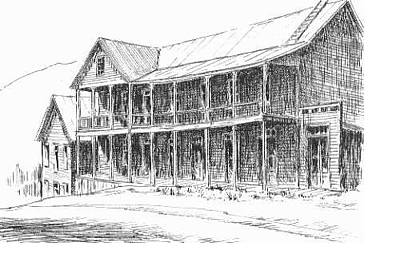 Drawing - Idaho Hotel Silver City Ghost Town Idaho by Kevin Heaney