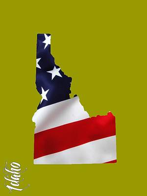 Us Flag Mixed Media - Idaho State Map Collection by Marvin Blaine