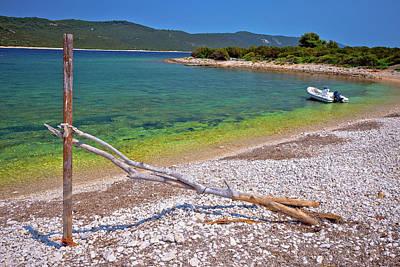 Photograph - Idyllic Rocky Beach Sakarun And Small Boat On Dugi Otok Island by Brch Photography