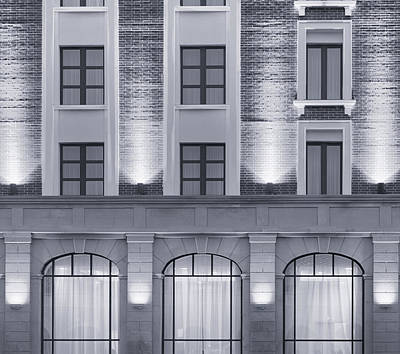 Photograph - Illuminated Building Facade During Urban Night by John Williams
