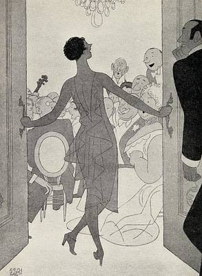 Brunette Drawing - Illustration By Ralph Barton 1891 To by Vintage Design Pics