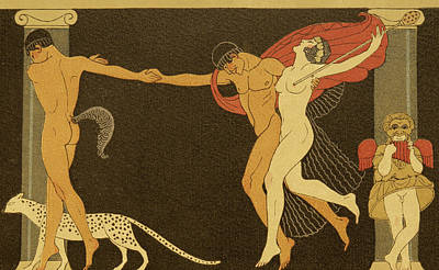 Cheetah Drawing - Illustration From Les Chansons De Bilitis by Georges Barbier