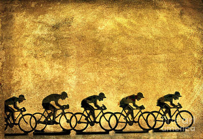 Illustration Of Cyclists Art Print by Bernard Jaubert