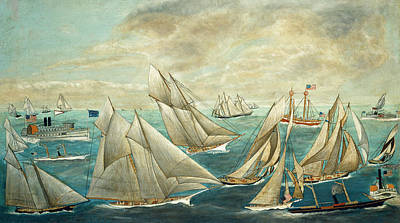 Painting - Imaginary Regatta Of America's Cup Winners by American 19th Century