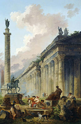 Painting - Imaginary View Of Rome With Equestrian Statue Of Marcus Aurelius, The Column Of Trajan And A Temple by Hubert Robert