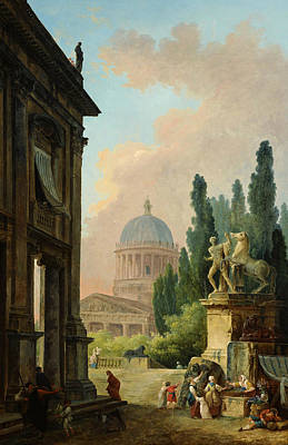 Painting -  Imaginary View Of Rome With The Horse-tamer Of The Monte Cavallo And A Church by Hubert Robert