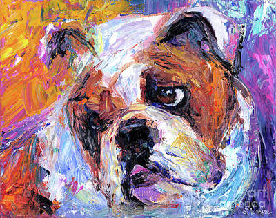 Largemouth Bass Drawing - Impressionistic Bulldog Painting  by Svetlana Novikova