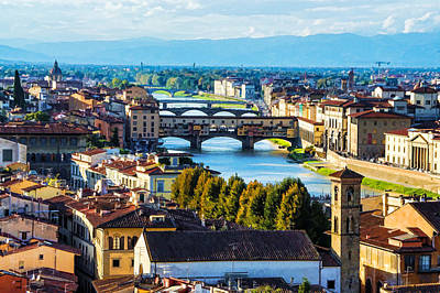 Digital Art - Impressions Of Florence - Arno River And The Bridges From Above by Georgia Mizuleva