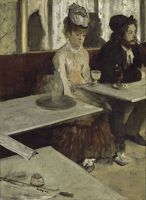 French Cafe Painting - In A Cafe by Edgar Degas