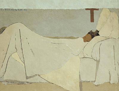 Interior Scene Painting - In Bed by Edouard Vuillard