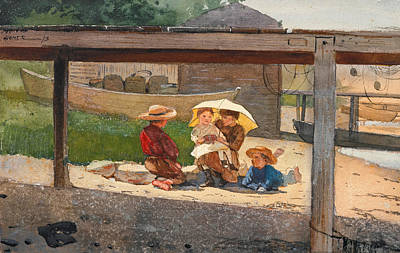 Winslow Homer Drawing - In Charge Of Baby by Winslow Homer
