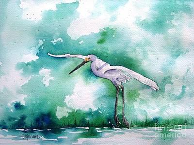 Egret Watercolor Artists Painting - In Flight by Diane Splinter