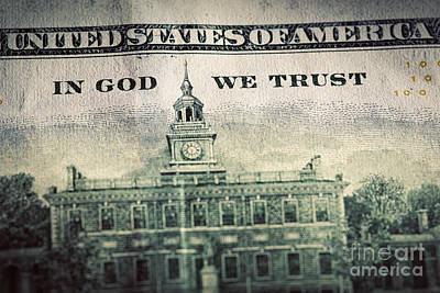 Debt Photograph - In God We Trust Motto On One Hundred Dollars Bill by Michal Bednarek