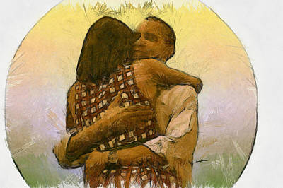 Michelle Obama Drawing - In Love by Anthony Caruso