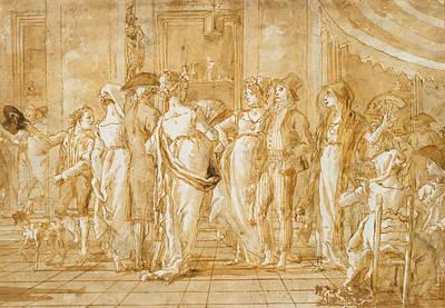Drawing - In Piazza by Giovanni Domenico Tiepolo