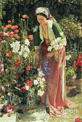 Turkish Painting - In The Bey's Garden by John Frederick Lewis