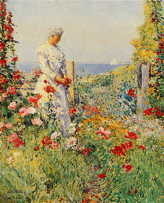 In The Garden Art Print by Childe Hassam