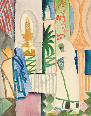 Shawl Painting - In The Temple Hall by August Macke