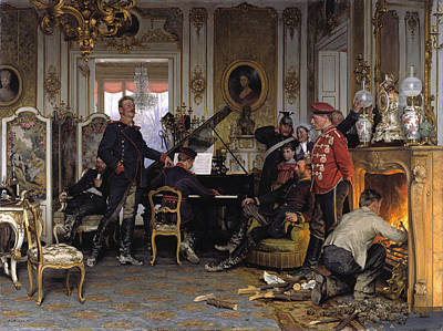 In The Troops' Quarters Outside Paris Art Print by Anton von Werner