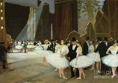 Ballet Dancers On The Stage Painting - In The Wings At The Opera House by Jean Beraud