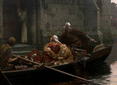 Medieval Painting - In Time Of Peril by Edmund Leighton