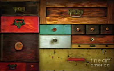 In Utter Secrecy - Various Drawers Art Print by Michal Boubin