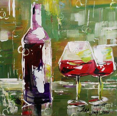 Painting - In Vino Veritas. Wine Collection by Alla Dickson