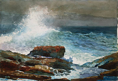 Winslow Homer Drawing - Incoming Tide. Scarboro. Maine by Winslow Homer