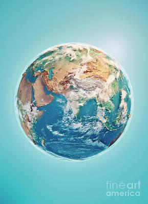Digital Digital Art - India 3d Render Planet Earth Clouds by Frank Ramspott