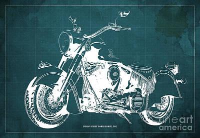 Indian Chief Dark Horse 2012  Blueprint Art Print by Pablo Franchi