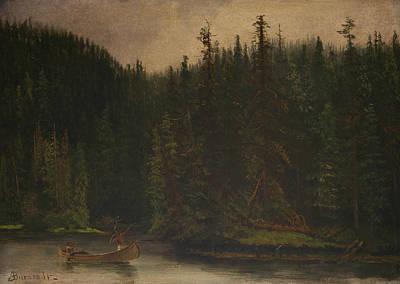 Canoe Painting - Indian Hunters In Canoe by Albert Bierstadt