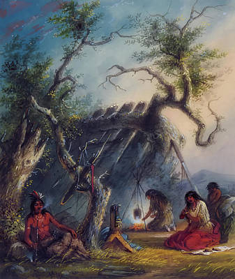 Indian Lodge Art Print by Alfred Jacob Miller