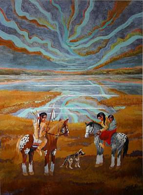 Prairie Sunset Painting - Indian Sunset  by Bob Craig