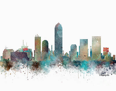 Painting - Indianapolis Indiana Skyline by Bri B