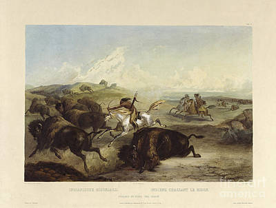 Volume Painting - Indians Hunting The Bison by Celestial Images